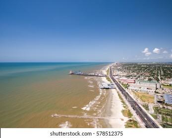 Flying over Galveston sea wall