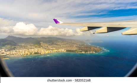 Flying over Hawaii, USA. A view from plane.