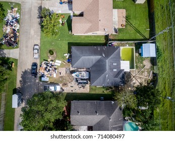 Flying over a home impacted by Hurricane Harvey