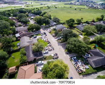 Flying over a Houston neighborhood after Hurricane Harvey