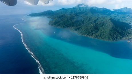 Flying Over Huahine's Blue Lagoon And Island In Frech Polynesia (Tahiti)