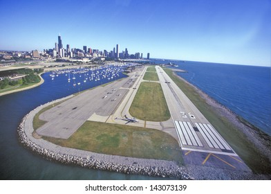 Flying over Meigs Airport Landing Strip, Chicago, Illinois