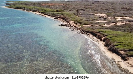 Flying over to and over Shipwreck Beach Lanai Island Hawaii