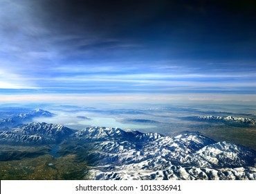 Flying over Utah, USA - looking towards Utah lake over the Wasatch Mountains , Roberts Horn, Cascade mountain and Heber City