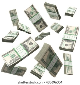 flying a pack of dollar bills 3d render on a white background