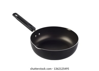 Flying pan with non-stick surface isolated on white background