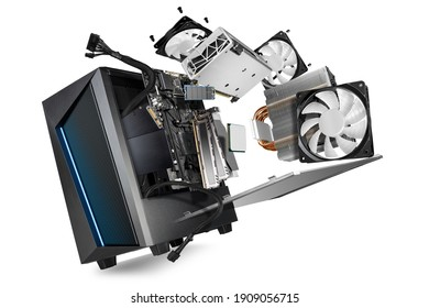 flying parts of a modern computer. hardware components mainboard cpu processor graphic card RAM cables and cooling fan flying out of black blue PC case on isolated abstract technology background