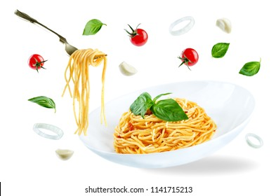 Flying Pasta with Marinara sauce and fresh Basil isolated. toning. selective focus