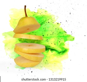 Flying pear. Sliced yellow pear with clipping path. Levity fruit floating in the air. Bright background in the form of a splash of colorful paints. Fruit Blast. Space for inscription.