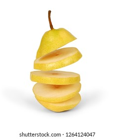 Flying pear. Sliced yellow pear isolated on white background. Levity fruit floating in the air. Creative concept with flying fruits.
