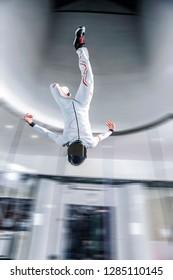 flying people in wind tunnel . indoor skydiving