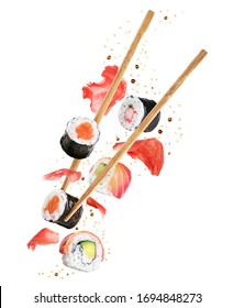 Flying pieces of sushi with chopsticks isolated on white background. Concept of flying sushi with ingredients. With clipping path.