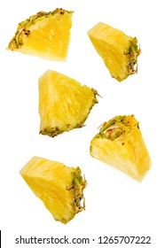 Flying Pineapple slices with clipping path on white background