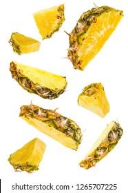 Flying Pineapple slices set on white background