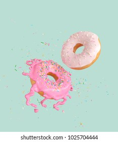 flying Pink and white doughnuts and sprinkled with cream splash, Clipping path 3d Illustration.