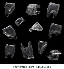 Flying plastic bags on a black background. Can be used for combination in images. Contamination of the planet concept.