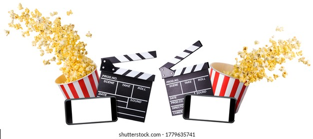 Flying popcorn, film clapper board and phone isolated on white background, concept of watching TV or cinema.
