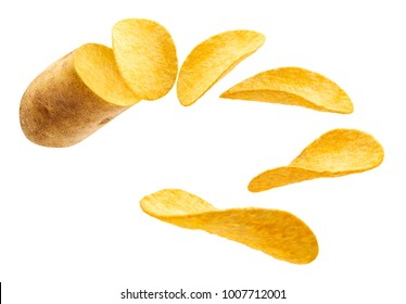 Flying potato slice into potato chips isolated on white background