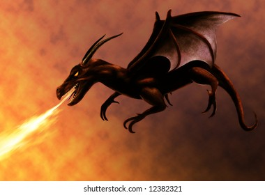 flying red dragon breathing fire