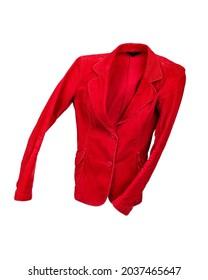 Flying red jacket on white background