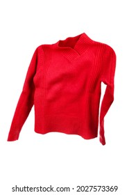 Flying red sweater on white background