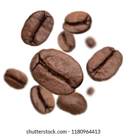 Flying roasted coffee beans isolated in white background cutout. Food background.