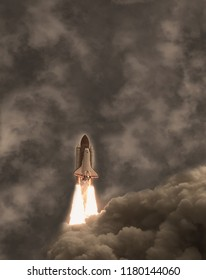 Flying rocket. The elements of this image furnished by NASA.