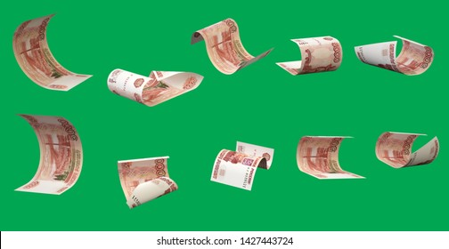 Flying rubles (isolated with clipping path). 5000 rubles. Russian money. Bills in different angles.