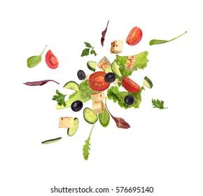 Flying salad on white background