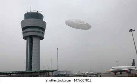 Flying Saucer Hovering Close to Airport Tower Illustration