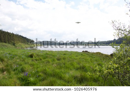 Flying saucer UFO over