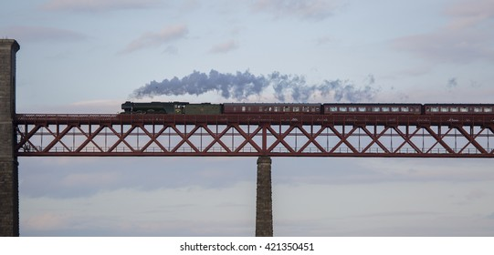 the Flying Scotsman heading north across the Forth Bridge on the evening of 15th May 2016 (if it had been on time, the light would have been fantastic - sadly it was delayed for some reason)