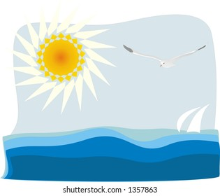 Flying seagull, sun and sea