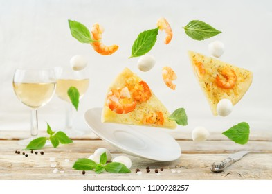 Flying Shrimp garlic cheesy pizza on a white background. toning. selective focus
