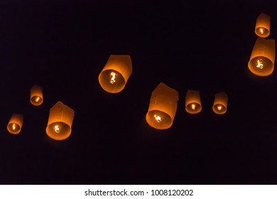 Flying Sky Lantern on Yeepeng festival, thai lanna tradition religion in Chiangmai thailand