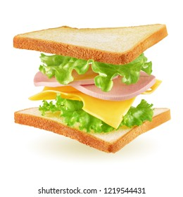 Flying square sandwich with toast, ham, cheese and lettuce isolated on white background