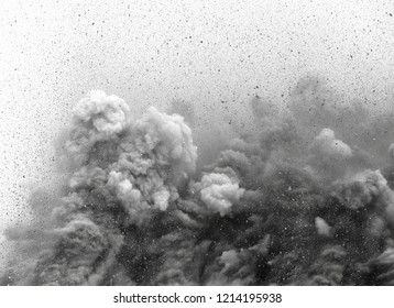 Flying stone particle in the air during blast