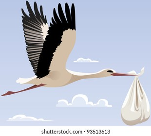 Flying stork with a bundle, raster