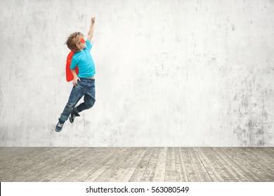Flying superhero in studio
