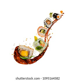 Flying sushi pieces isolated on white background. Concept of food levitation, high resolution image
