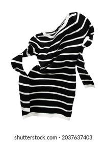 Flying sweater with black and white stripes on white background