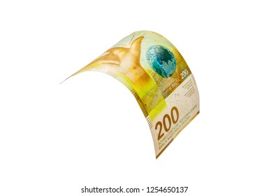 Flying Swiss money - 200 francs note isolated with clipping path