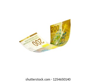 Flying Swiss money - Swiss francs note isolated with clipping path