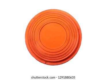 Flying target plate for shotgun sport isolated on white
