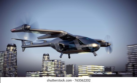 Flying Taxy Drone Going Through the City. 3d illustration