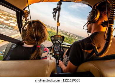 Flying together with kids in helicopter