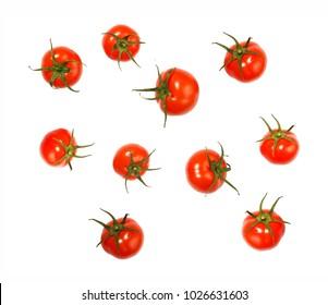 Flying tomatoes isolated on white background