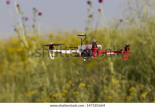 Flying uav quadcopter drone