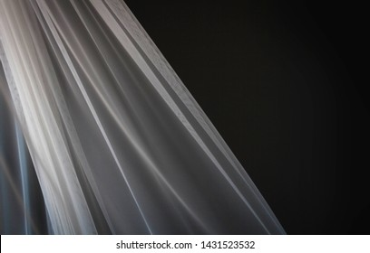 Flying and Waving White Transparent Curtain Cloth | Soft Natural Light on Fabric Texture
