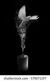 flying white dove coming out the smoke from a blown out candle, heavenly funeral card